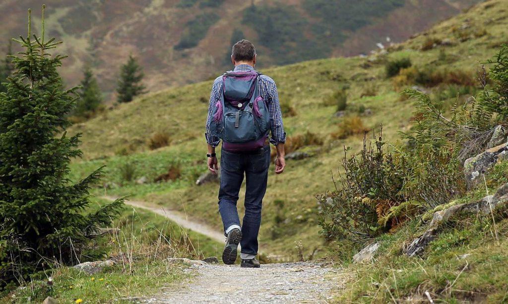Backpacker Wandern Wald
