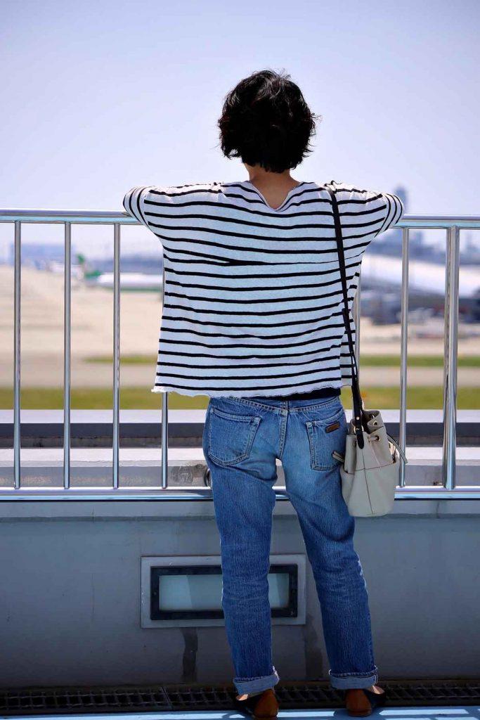 Streifen Shirt Jeanshose