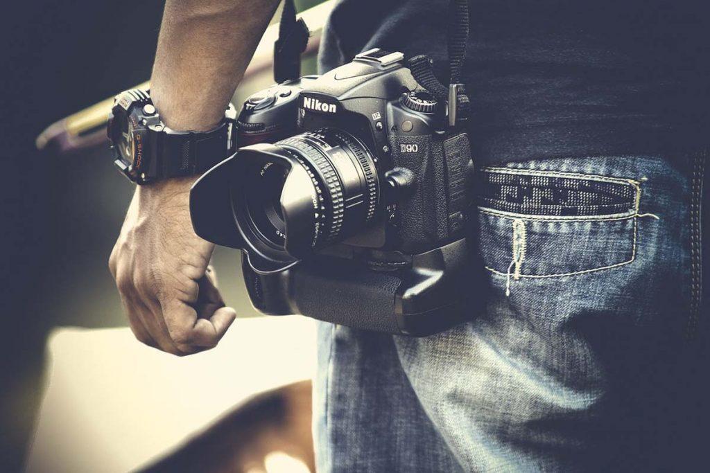Kamera Herrenjeans Armbanduhr
