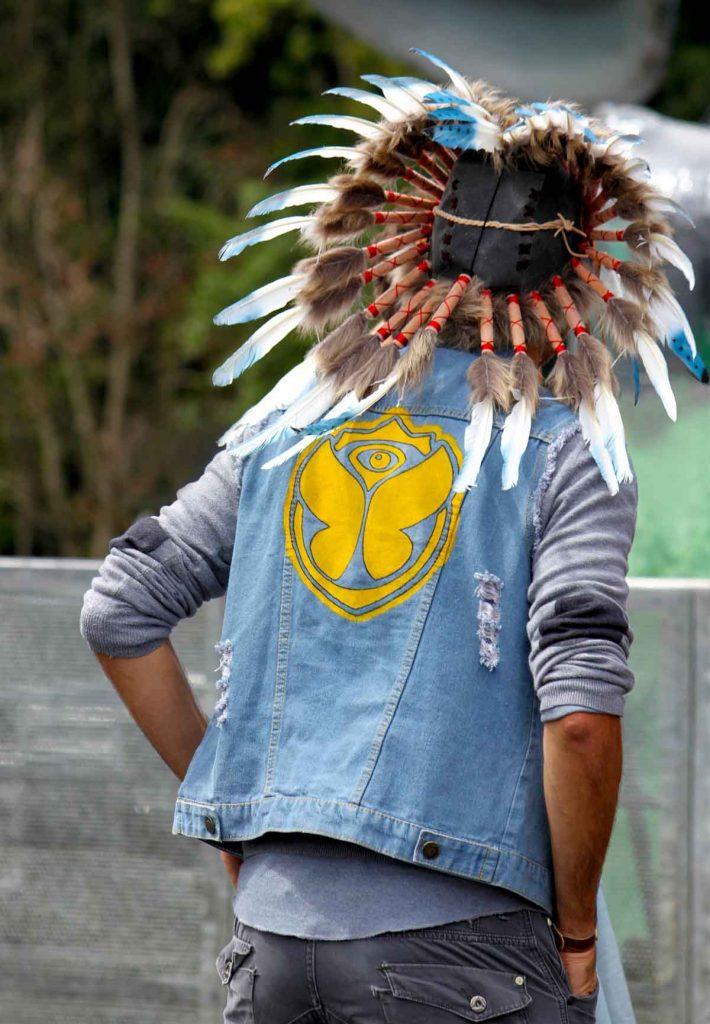 Indianer Jeansjacke Print