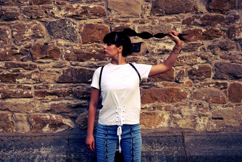 Schnürung Jeans Shirt