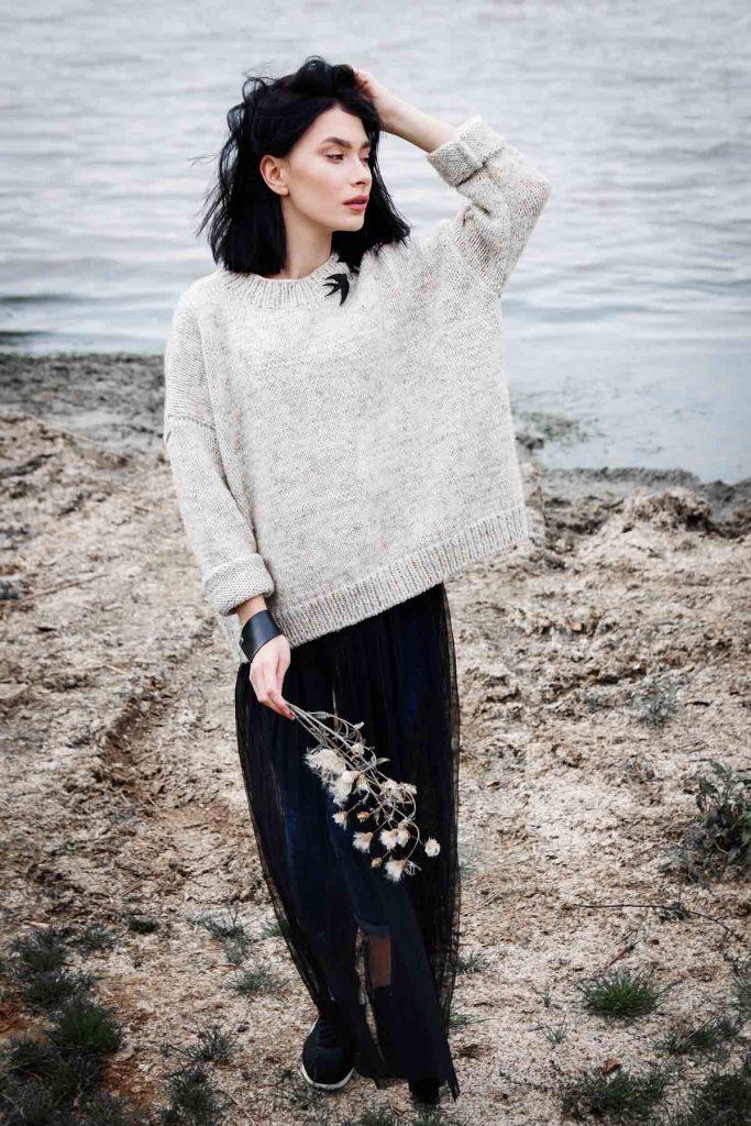oversize pullover rock frau