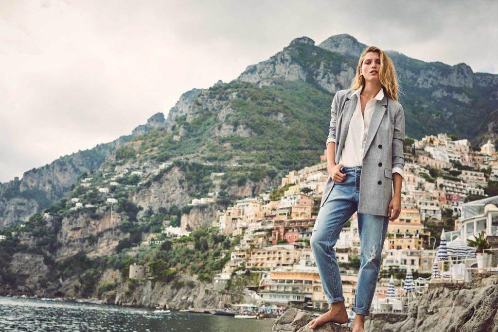 jeanshose blazer landschaft pullover