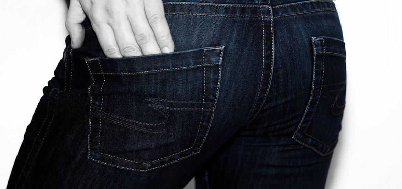 jeanshose hosentaschen hand nähte