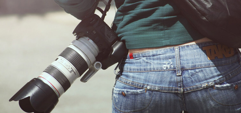 hüftjeans kamera pullover jacke